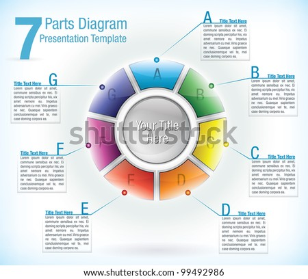 Segmented wheel presentation template with seven differently colored segments each with an information text box attached - stock vector