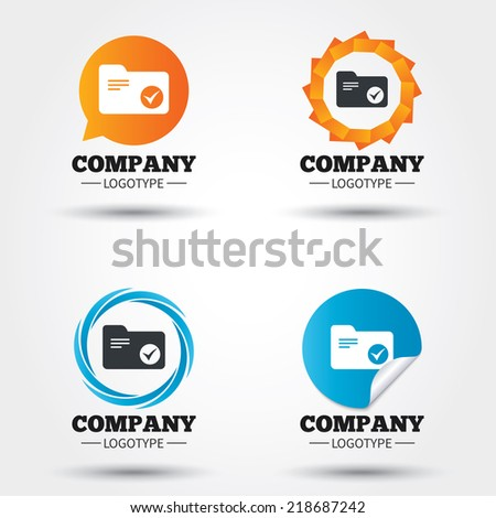 Select document folder sign. Accounting binder symbol. Bookkeeping management. Business abstract circle logos. Icon in speech bubble, wreath. Vector - stock vector
