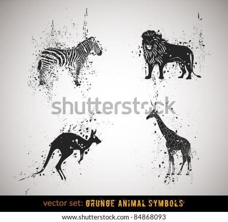 Selected grungy animals symbols/icons. Vector Illustration. - stock vector