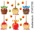 Selection of candy apples isolated on white with candy corn - stock vector