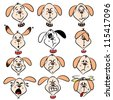 Selection of cartoon dog faces with various expressions - stock vector
