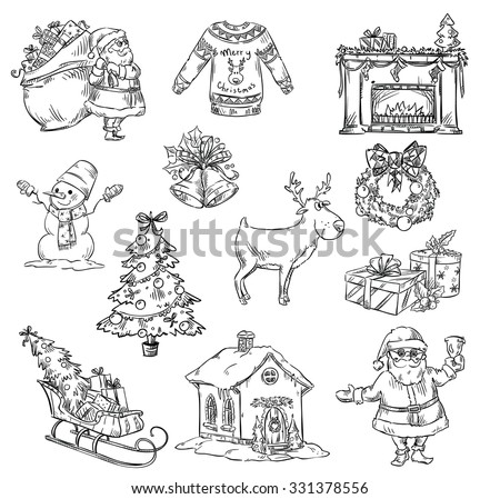 Selection of christmas symbols, hand drawn - stock vector