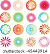 selection of circle icons in a modern line style - stock vector