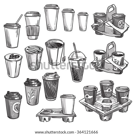 selection of coffee takeaway cups and carrier trays. Packaging. - stock vector