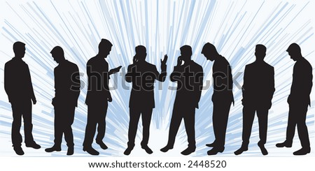Selection of different business man silhouettes - stock vector