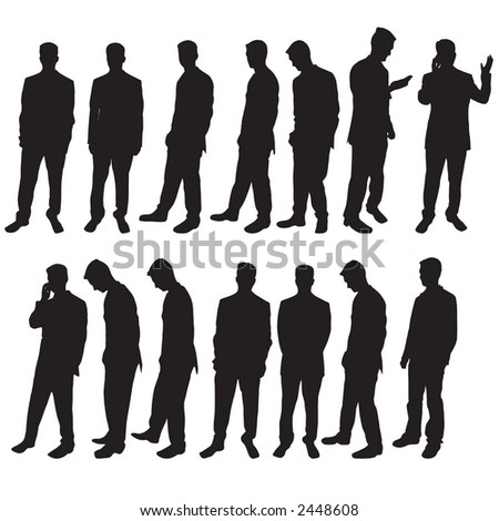 Selection of different business man silhouettes