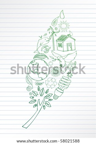 Selection of eco doodles make up leaf shape. Room for your text. - stock vector