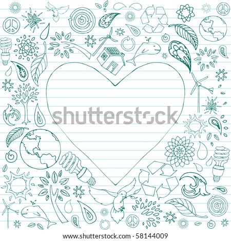 Selection of eco-friendly doodles surround a heart shaped text area. - stock vector
