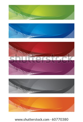 Selection of halftone digital banners. This image is a vector illustration. - stock vector