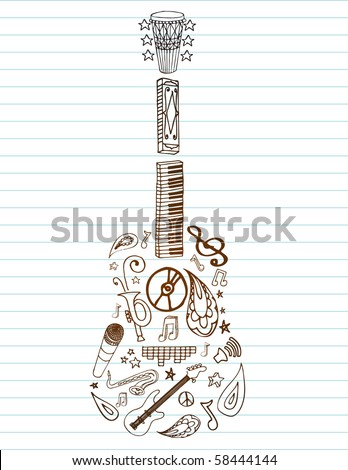 Selection of hand drawn music doodles make up guitar shape on lined paper. Room for your text.