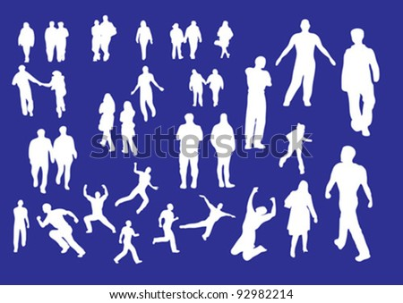 Selection of people outline shapes on blue
