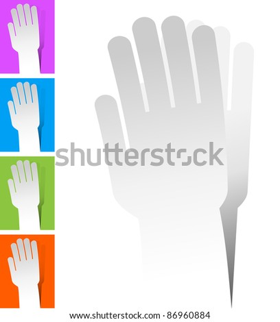 self-adhesive label in the form of hand.isolated - stock vector
