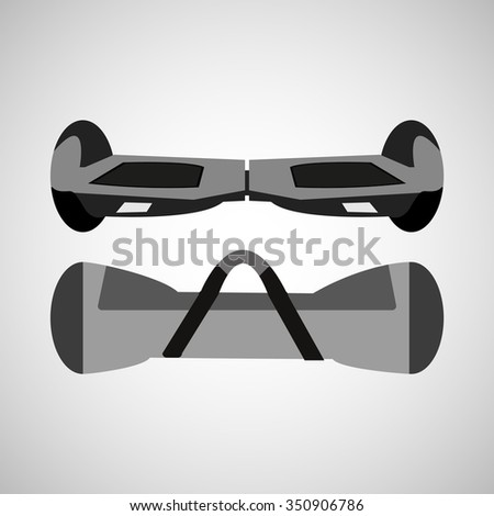 Self-balancing electric scooter with bag for transportation - stock vector