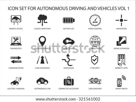 Self driving and autonomous vehicles vector icon set.  - stock vector