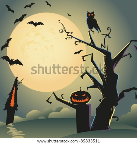 self illustrated beautiful halloween background for your design - stock vector