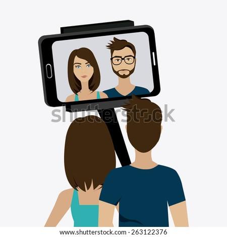 Selfie design over white background, vector illustration. - stock vector