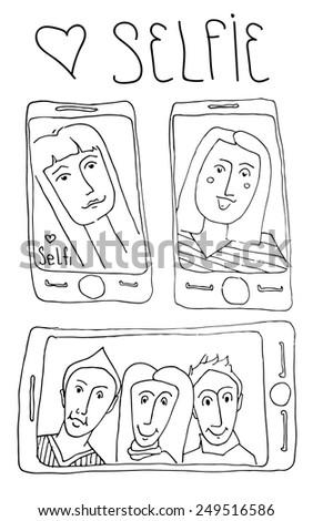 Selfie. Hand Draw sketch - stock vector