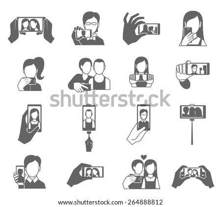 Selfie icons black set with people taking photo on cellphone isolated vector illustration - stock vector