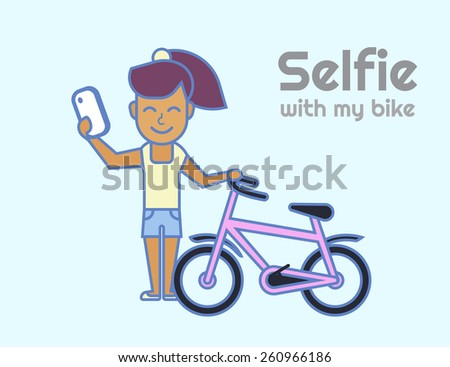Selfie of young smiling girl with bicycle - stock vector
