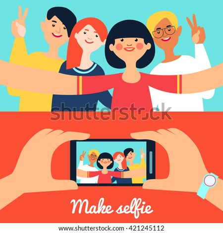 Selfie photo of friends banners with young happy people and portrait on phone screen isolated vector illustration - stock vector