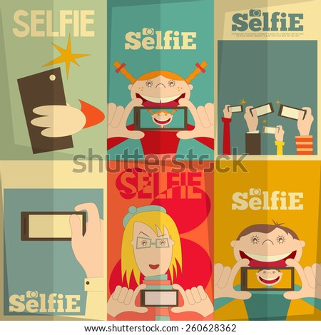 Selfie Posters Set. Flat Design. Vector Illustration. - stock vector