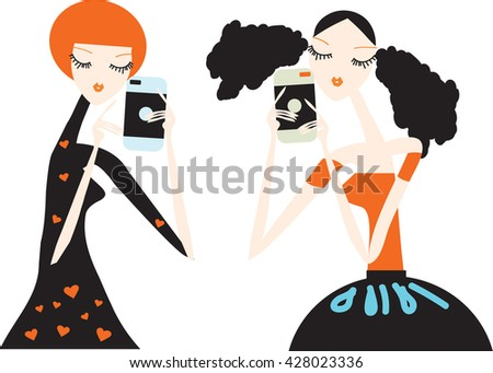 Selfie shot of two young girls by a chatting Vector illustration - stock vector Best friends