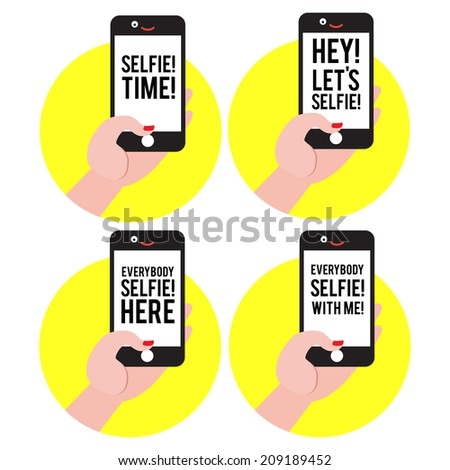 Selfie sign ot label collection vector mix - stock vector