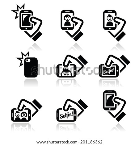 Selfie, taking photos with smartphones for social media icons set  - stock vector