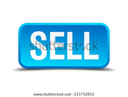 Sell blue 3d realistic square isolated button - stock vector