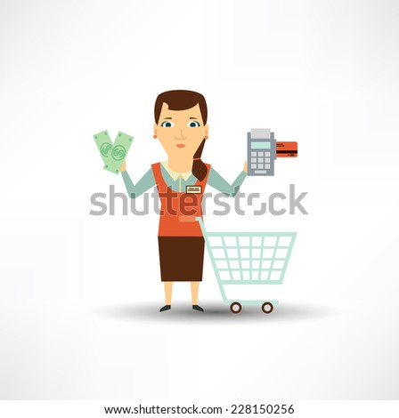 seller offers to pay in cash or card  - stock vector