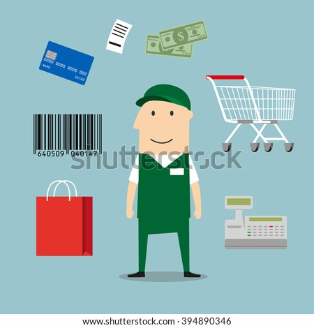 Seller profession and retail icons including a bag, till or cash register, credit card payment, bar code and bag of groceries around a shop seller - stock vector