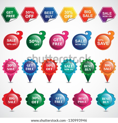 Selling Badges Isolated On White Background - Vector Illustration, Graphic Design Editable For Your Design. Sale Stickers And Labels. Logo Symbols