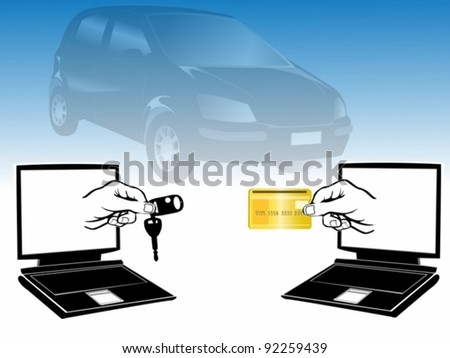 selling car over internet - stock vector