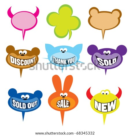 selling labels and bubbles - stock vector