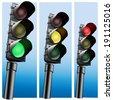 Semaphore Realistic  Traffic lights. Vector illustration. - stock vector