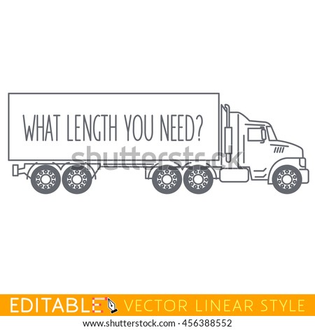 Semi Truck Side View. Editable vector icon in linear style. - stock vector