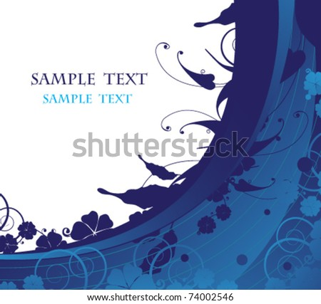 Semicircular blue background with floral element - stock vector