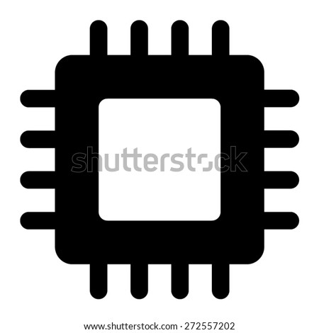 Semiconductor computer chip flat icon for websites - stock vector