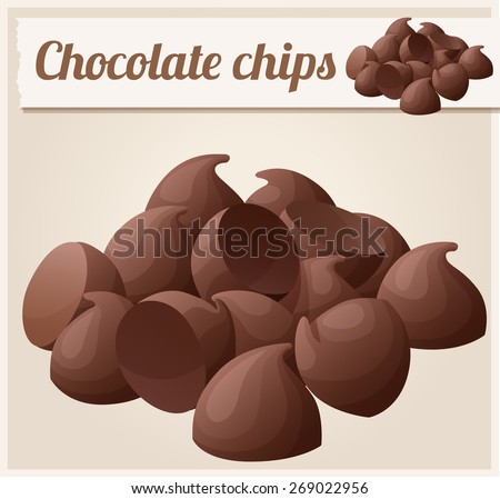 Semisweet chocolate chips. Detailed Vector Icon. Series of food and drink and ingredients for cooking. - stock vector