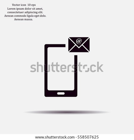 Send Letter Icon Mobile Phone Mail Stock Vector