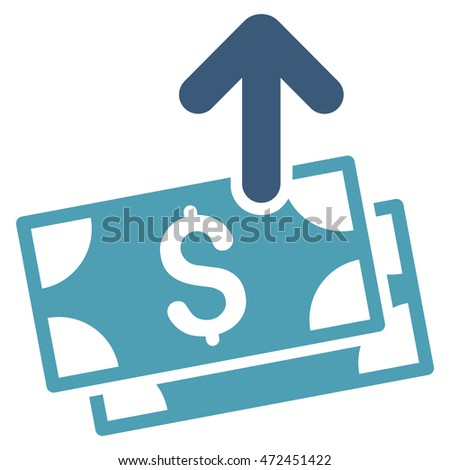 Send Banknotes icon. Vector style is bicolor flat iconic symbol with rounded angles, cyan and blue colors, white background.