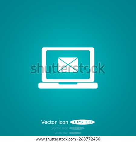send email envelope in a laptop - stock vector