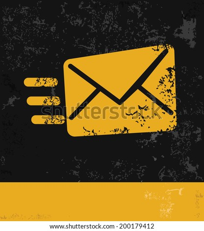 Send message symbol,grunge vector - stock vector