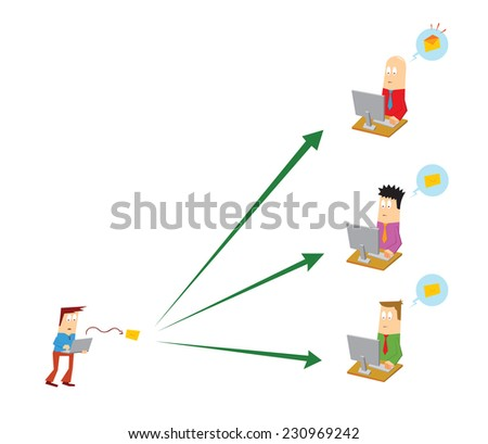 sending email to people - stock vector
