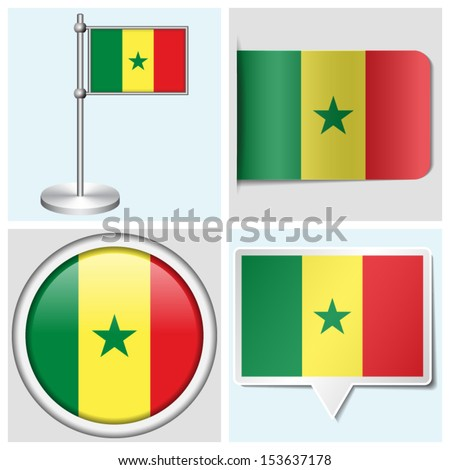 Senegal flag set of various sticker button label and flagstaff