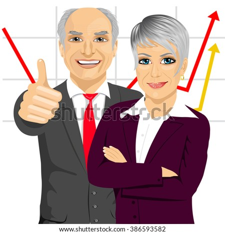 senior business people partners standing together with arms folded and giving thumbs up in front of line chart - stock vector
