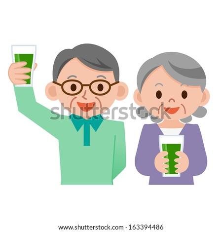 Senior couple drinking vegetable juice - stock vector