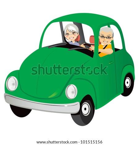 Senior couple happy driving cute old green car - stock vector
