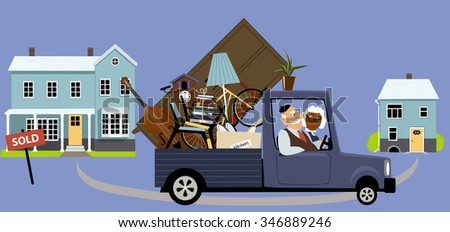 Senior couple moving their belongings from a big family house into a smaller home, EPS 8 vector illustration - stock vector