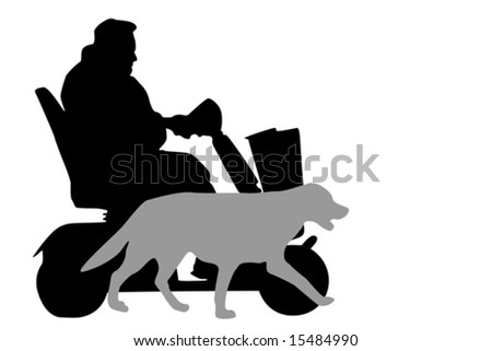senior driving  mobility scooter,  accompanied by his dog - stock vector